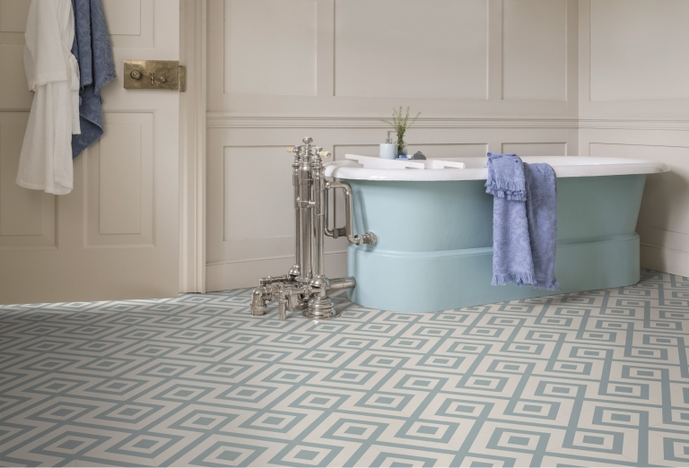 Bathroom with blue vinyl flooring